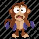 emoji, emoticon, gym, monkey, sticker, weight, workout icon