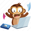 emoji, monkey, sticker, emoticon, stress, work icon