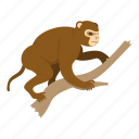 animal, branch, monkey, nature, primate, wildlife, wood icon