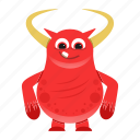 alien, beast, cartoon, cute, devil, halloween, horn, monster icon