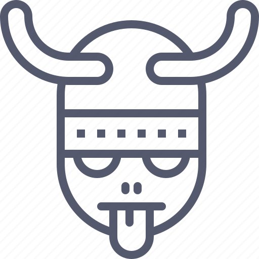 character, helmet, tongue, viking icon