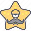 character, creature, hungry, mascot, moustache, mouth, star icon