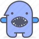 character, creature, mascot, shark icon