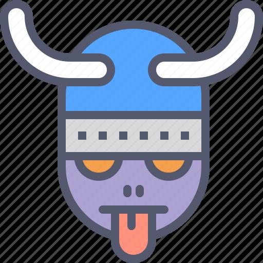 character, helmet, tongue, viking icon