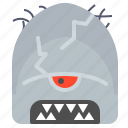 character, cracked, creature, horns, mascot icon
