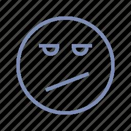 displeased, doubt, emotions, mood, skeptic, smiley, wonder icon
