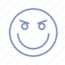 emotions, gloating, grin, mood, smile, smiley icon
