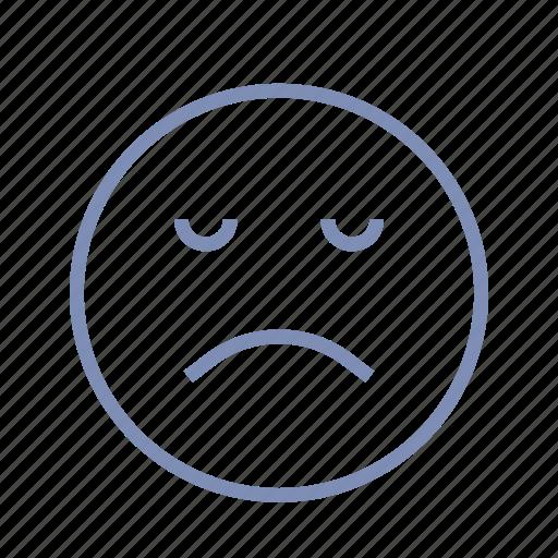 displeased, emotions, mood, sleep, smiley, sorrow icon