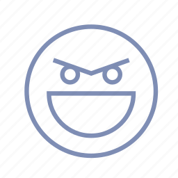 emotions, evil, gloating, grin, laugh, mood, smiley icon