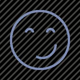 emotions, happy, mood, pleased, smile, smiley, smirk icon