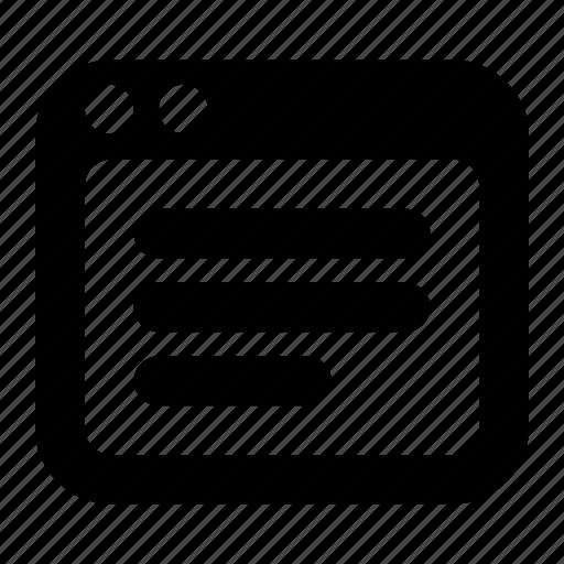 browser, data, internet, text, website, window icon
