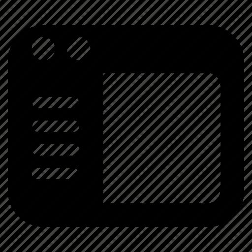 left, left side, menu, panel icon