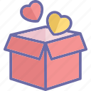 gift box, heart shaped, love gift, love present icon