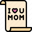 happy, letter, love, mom, mother, mother's day icon