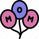 balloons, happy, love, mom, mother, mother's day icon