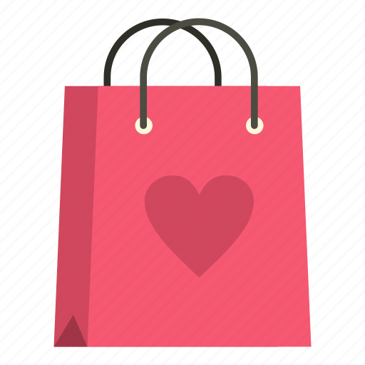 bag, buy, heart, love, package, paper, retail icon