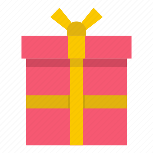 box, day, gift, golden, love, pink, ribbon icon