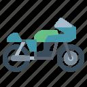 biker, caferacer, motorcycle, transportation, vehicle icon