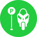 lot, motorcycle, park, parking, space, zone icon