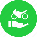 assistance, care, maintenance, motorcycle, receive, service, support icon