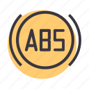 abs, antilock, brake, braking, car, motorcycle, system icon
