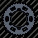 motorcycle, parts, spare, sprocket icon