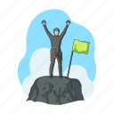 climber, flag, goal, mountain, peak, victory icon