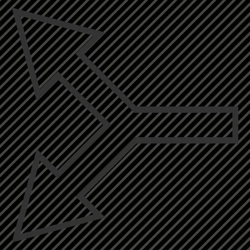 choice, divide, junction, left arrow, navigation, separate, split arrows icon