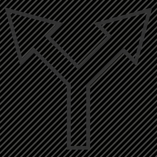 arrow up, choice, connection, divide, junction, navigation, split arrows icon