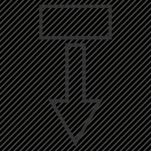 arrow, move down, navigation, pointer, pull, send, transfer icon