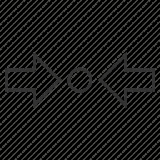 compress horizontal, compression, minimize, press arrows, pressure, reduce, shrink icon