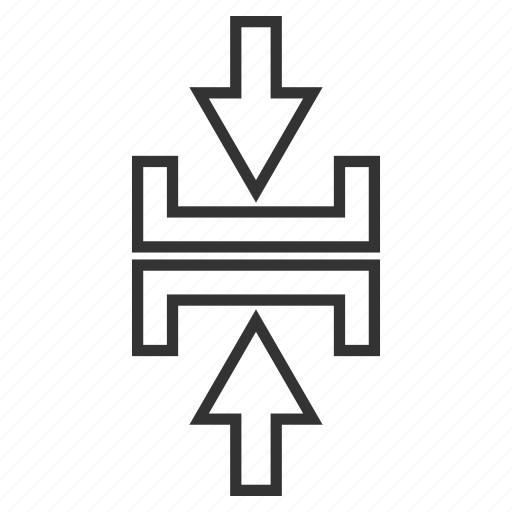 compact, compress arrows, compression, minimize, pressure, reduce, vertical icon