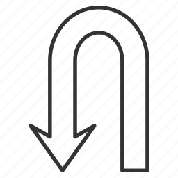 back, backward, direction, navigation, return arrow, turning, u turn icon