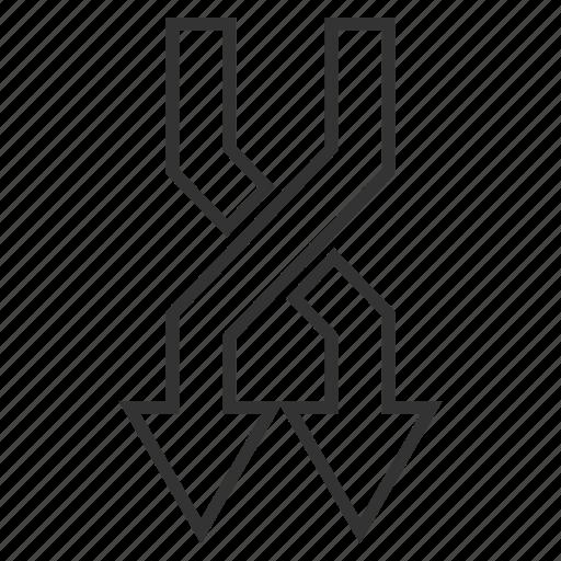 down direction, flip, interact, mix arrows, random, replace, shuffle icon
