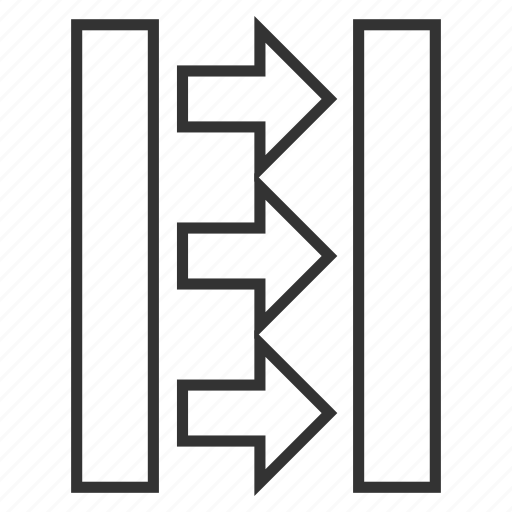 compress arrows, force, horizontal, minimize, press, pressure, reduce icon