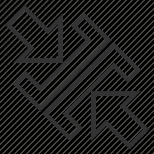 combine, compact, compress arrows, compression, diagonal, pressure, reduce icon