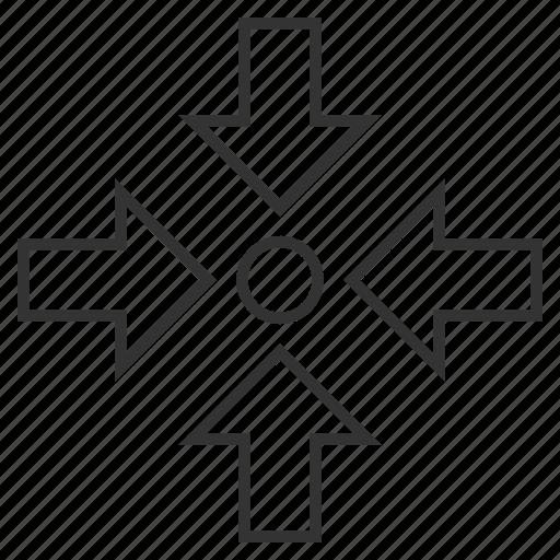 center, compact, compress arrows, compression, minimize, pressure, reduce icon