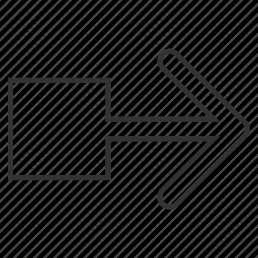 arrow, move, navigation, pull, right, send, shift icon