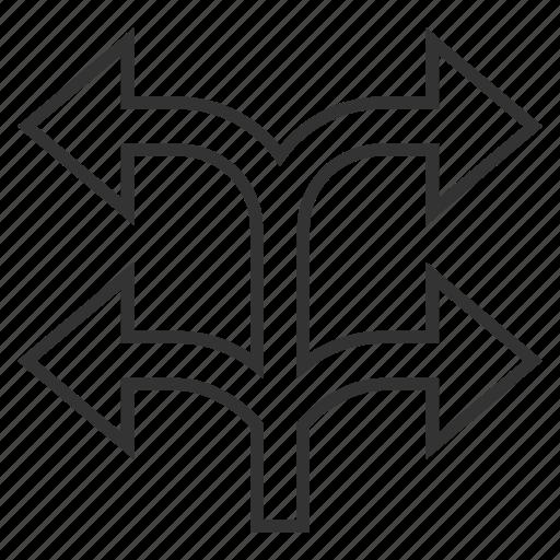 arrow, choice, divide, left right, navigation, separate, split arrows icon