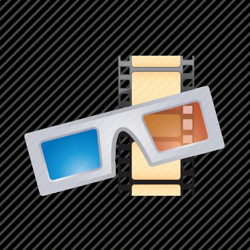 eyeglass, eyewear, film, glasses, treedimensional icon