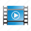 audio, cinema, film, movie, play, video icon