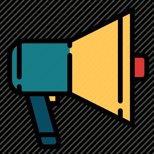 cinema, entertainment, megaphone, movie, speaker icon