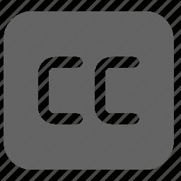 caption, cc, copyright icon