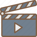 cinema, clapper, film, movie, movies, play icon