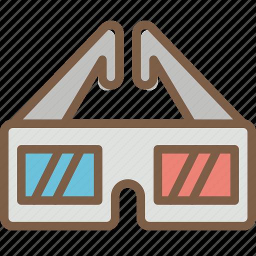 cinema, film, glasses, movie, movies, three icon