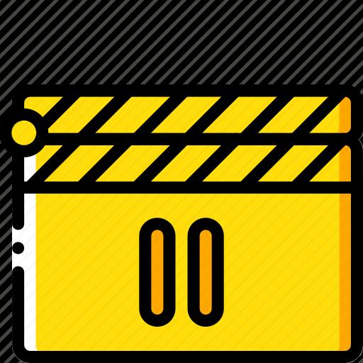 cinema, clapper, film, movie, movies, pause icon