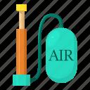 air, bicycle, cartoon, device, equipment, hand, pump