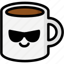 cool, emoji, emotion, expression, face, feeling, mug icon