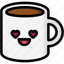 emoji, emotion, expression, face, feeling, love, mug