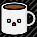 emoji, emotion, expression, face, feeling, mug, shocked icon